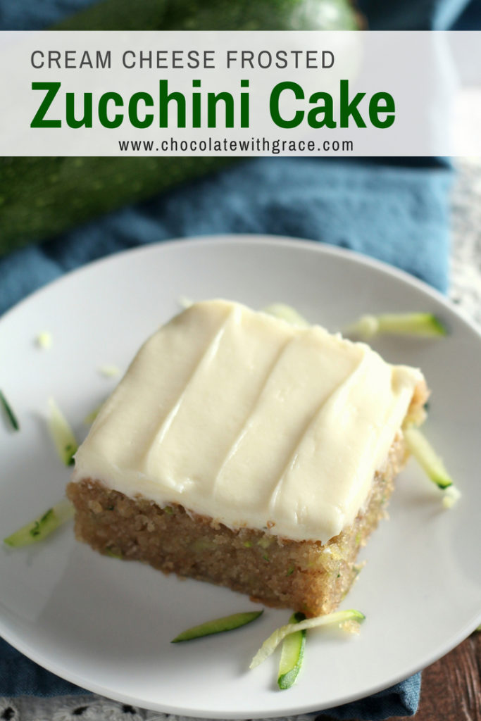 Zucchini Cake with Cream Cheese Frosting. An easy, moist cinnamon zucchini cake is spread with a cream cheese frosting. It is perfect sweet treat or dessert for a potluck, picnic or BBQ