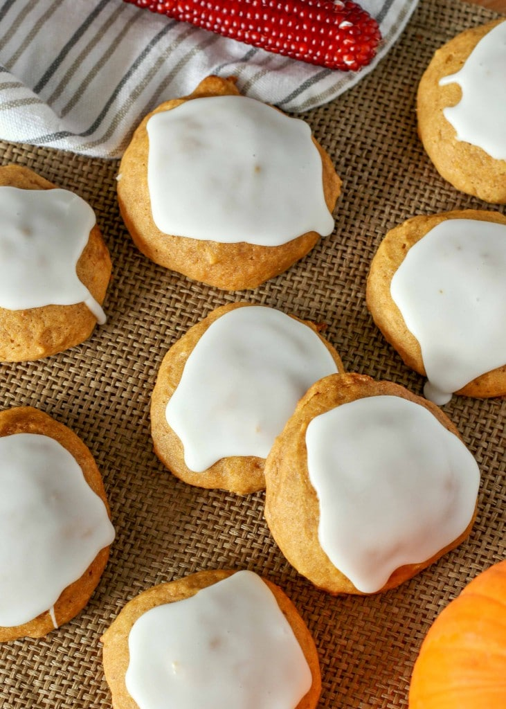 Soft and chewy Glazed Pumpkin Cookies