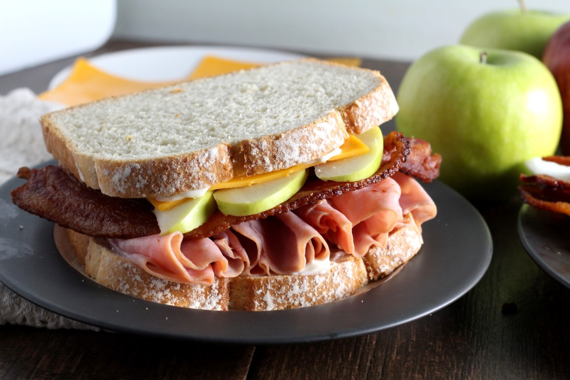 Harvest Apple, Bacon and Cheddar Ham Sandwiches - Chocolate with Grace