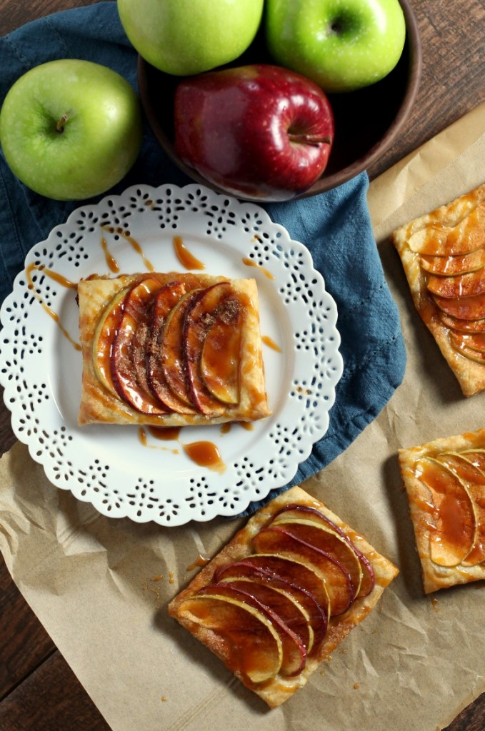 A quick and easy dessert that is fancy enough for company, these caramel apple puff pastries are great with ice cream.
