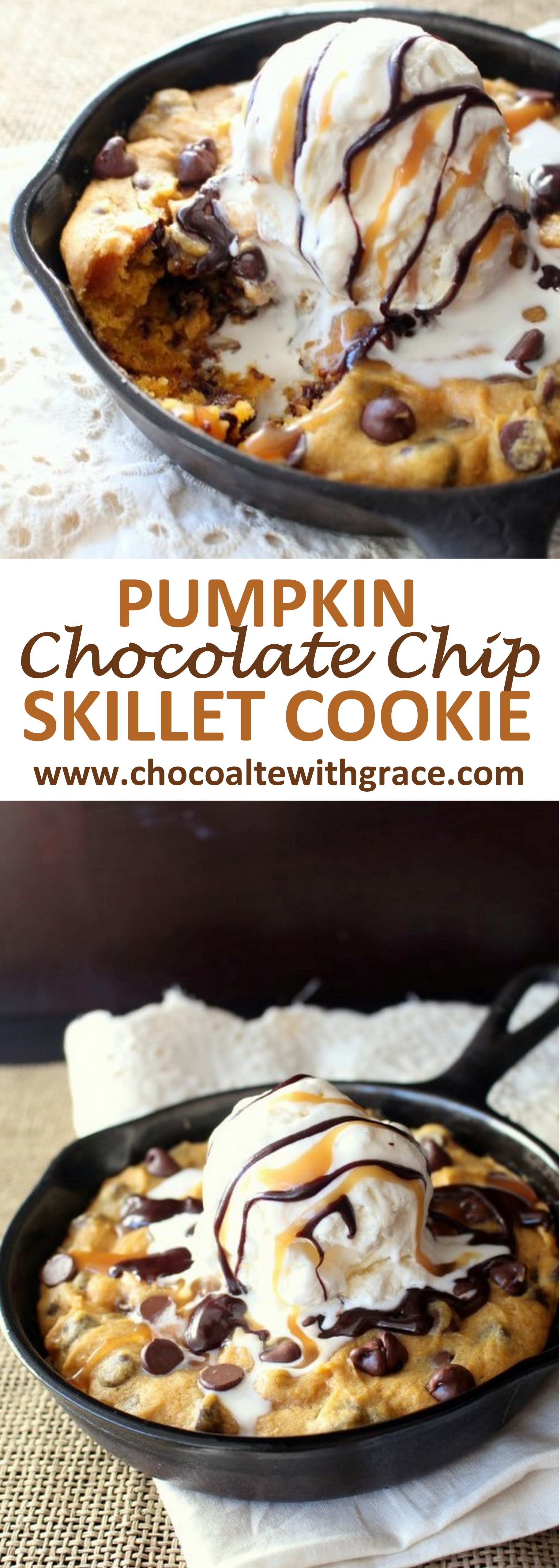 Pumpkin Chocolate Chip Skillet Cookie - Chocolate with Grace
