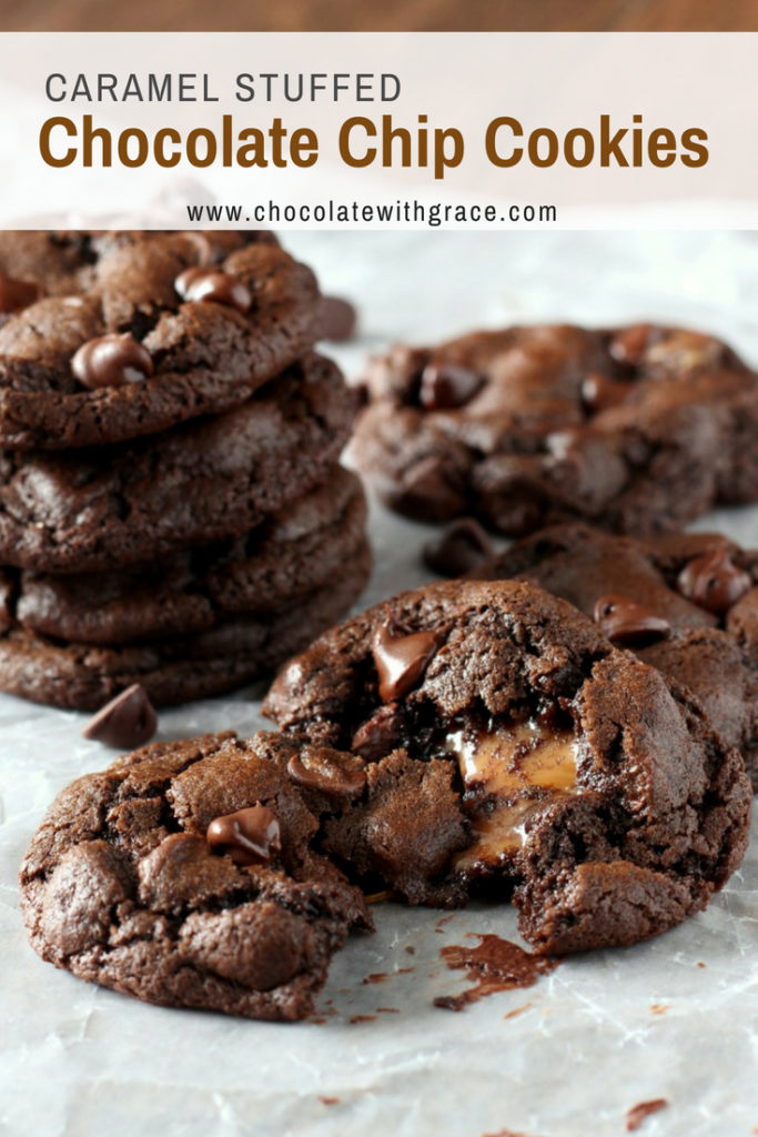 These Caramel Stuffed Chocolate Chocolate Chip Cookies are perfect for the Holidays, Christmas, or even as wedding cookies.