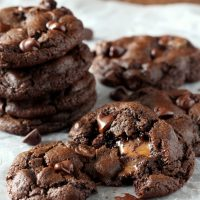 Caramel Stuffed Double Chocolate Chip Cookies