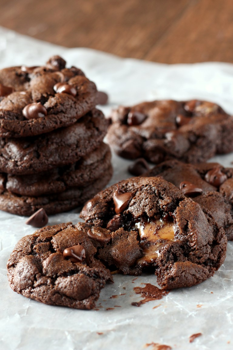 Caramel Stuffed Double Chocolate Chip Cookies - Chocolate with Grace