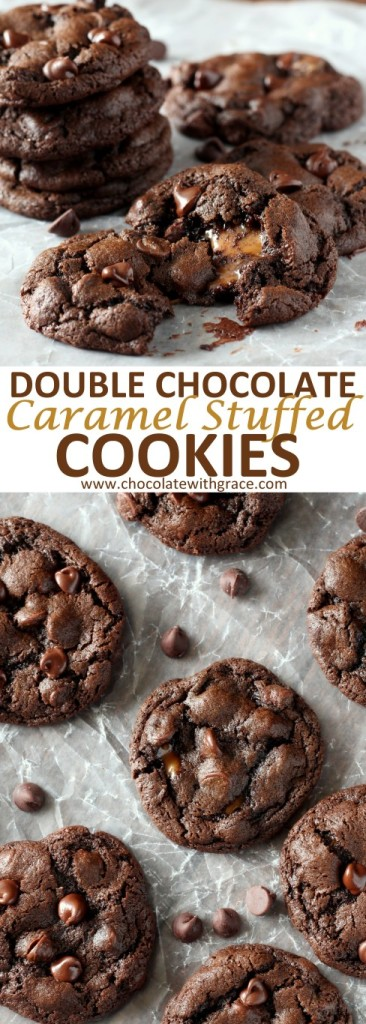 Caramel Stuffed Double Chocolate Chip Cookies