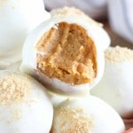 White chocolate covered pumpkin pie truffles