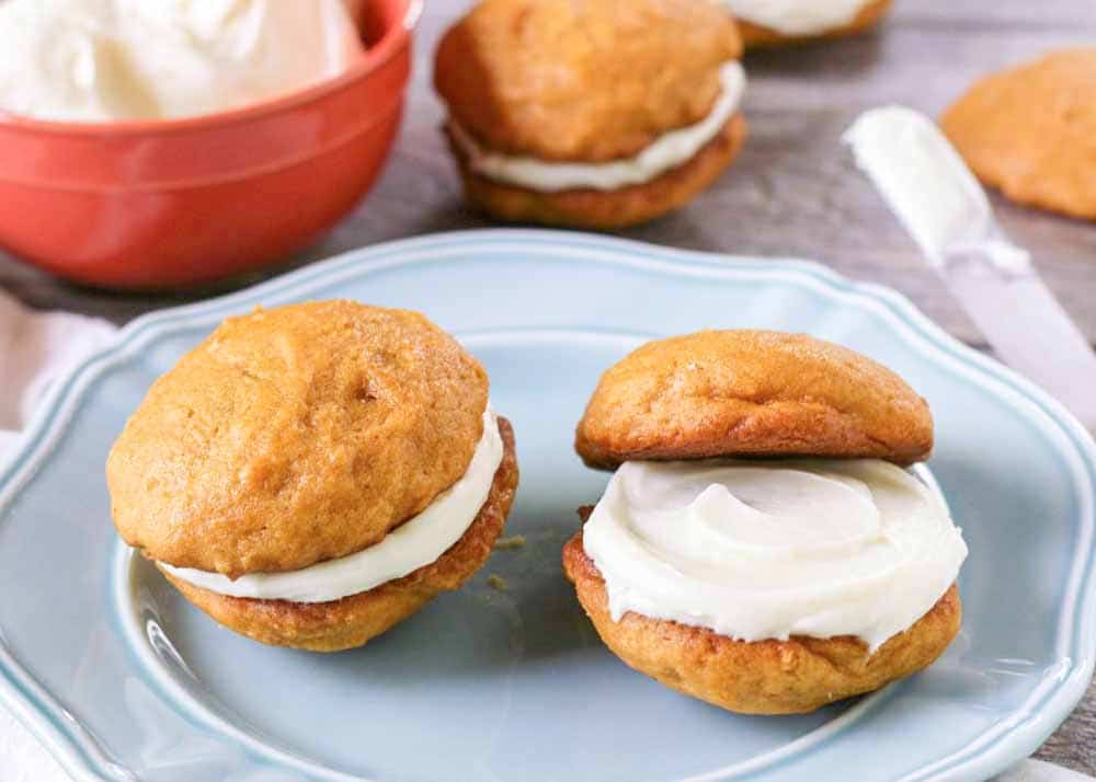 Cream Cheese Filled Pumpkin Whoopie Pies are a fall favorite.