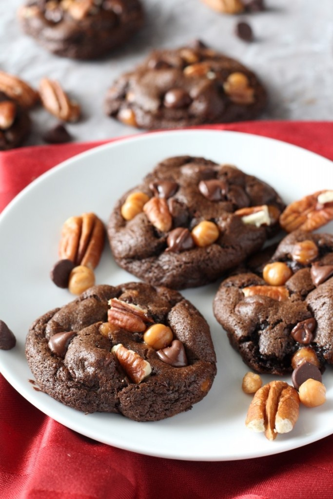 Chocolate Turtle cookies filled with pecans, caramel bits and chocolate chips. A fun, easy Christmas cookie recipe.