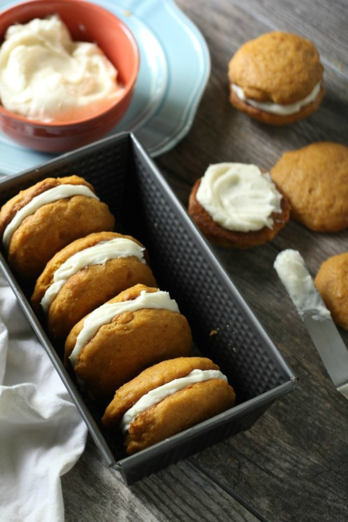 Cream Cheese Filled Pumpkin Whoopie Pies | Easy Thanksgiving Dessert | Pumpkin Whoopie Pie Recipe