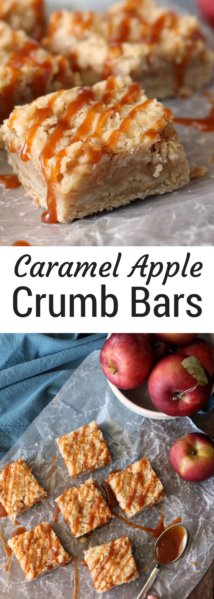 Caramel Apple Crumb Bars - Chocolate with Grace