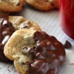 Chocolate Dipped Chocolate Chip Cookies | The best Chocolate chip cookies dipped in rich dark chocolate, best enjoyed with a glass of milk. | Christmas cookie recipe ideas | Christmas cookie exchanges or holiday cookie trays | #cookierecipes #christmascookies