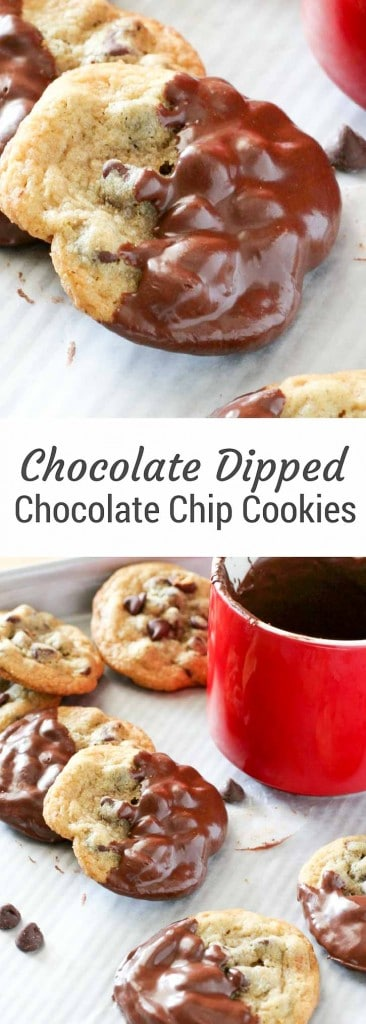 Chocolate Dipped Chocolate Chip Cookies are a holiday tray hit.