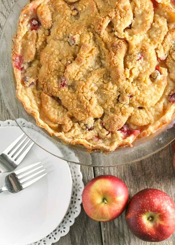Streusel topped Apple Cranberry Pie