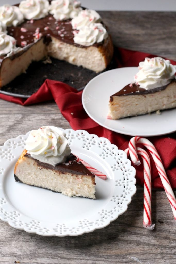 Chocolate Peppermint Cheesecake | Classic treats for Christmas dessert | White Chocolate Peppermint Cheesecake with ganache and whipped cream