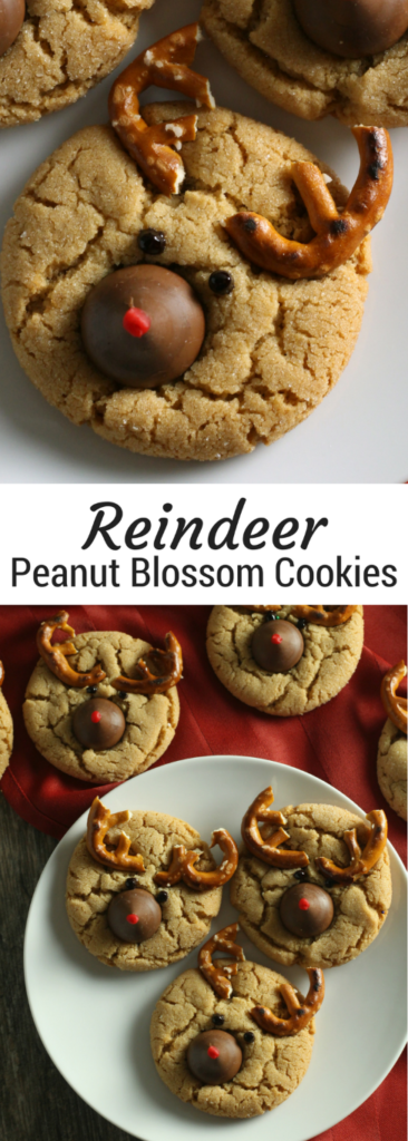 Reindeer Peanut Blossoms | Christmas peanut blossom cookies | Peanut Butter Kiss Cookies for Christmas | Christmas cookie trays and cookie swaps or exchanges
