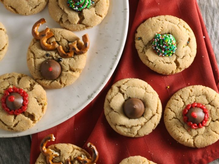 christmas peanut blossom cookies reindeer christmas trees santa hats chocolate with grace - Christmas Peanut Butter Cookies