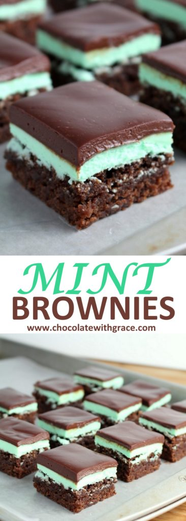 Mint Brownies with Chocolate Ganache | Perfect for Christmas cookie trays, cookie swaps and exchanges | Homemade mint brownies from scratch |