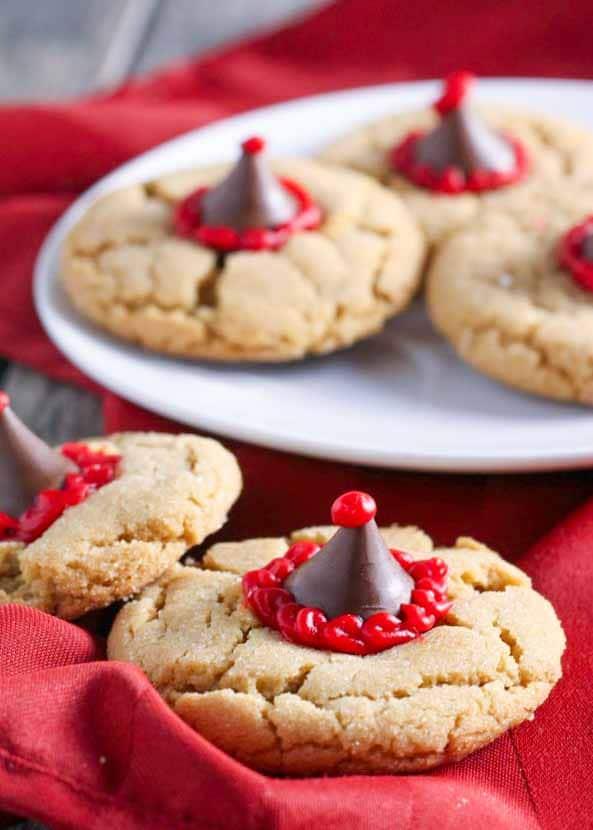 Santa Hat Peanut Blossom Cookies