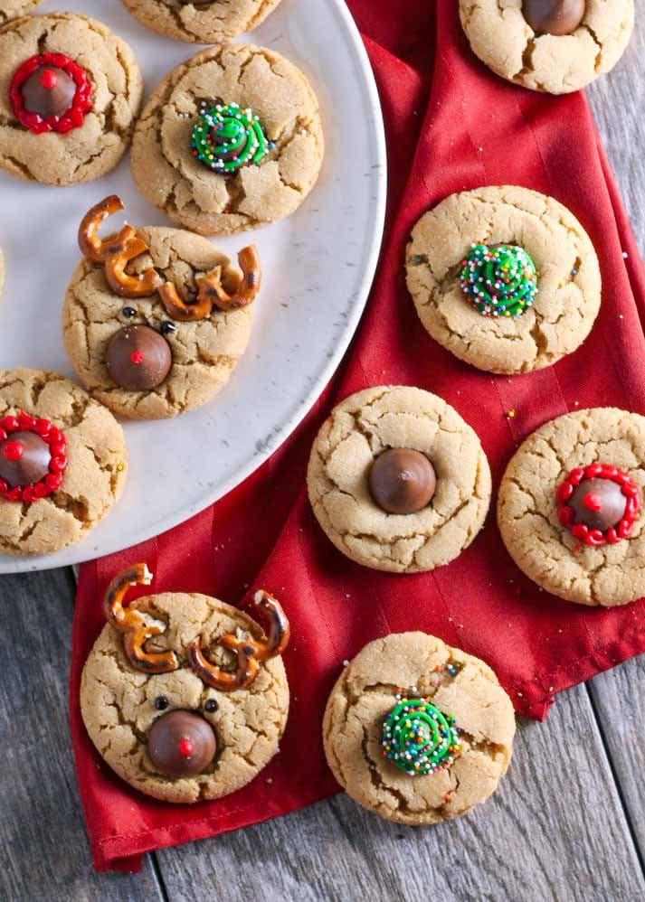 Reindeer, Santa, and Christmas Tree Peanut Blossom Cookies