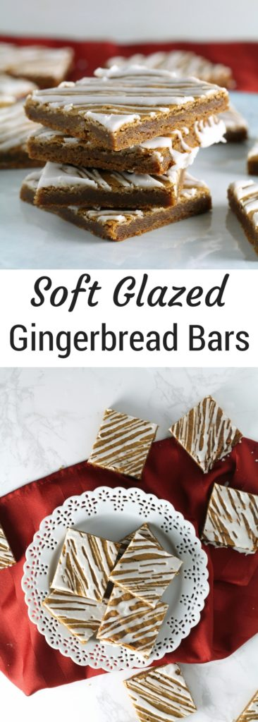 Soft Glazed Gingerbread Bars | A quick and easy gingerbread recipe perfect for Christmas or the Holidays | Easy Gingerbread recipe | Christmas cookie trays and exchanges