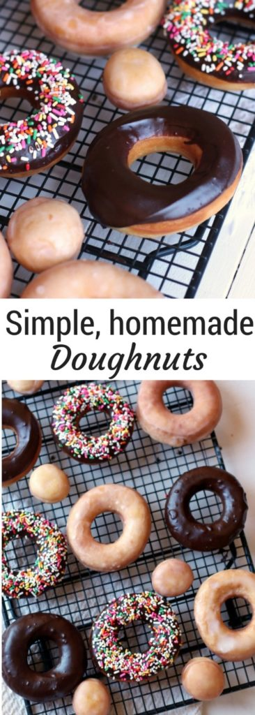 Homemade Fried Yeast Donuts with Vanilla or chocolate glaze and sprinkles of course. Because sprinkle donuts are the best!