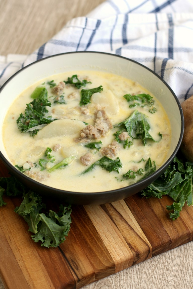 Zuppa toscana soup 1 pot 1 hour chocolate with grace for Olive garden potato sausage kale soup recipe