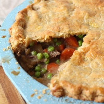 Leftover Pot Roast Pot Pie uses the potatoes, carrots and beef to make a delicious beef pot pie for a quick and easy dinner recipe.