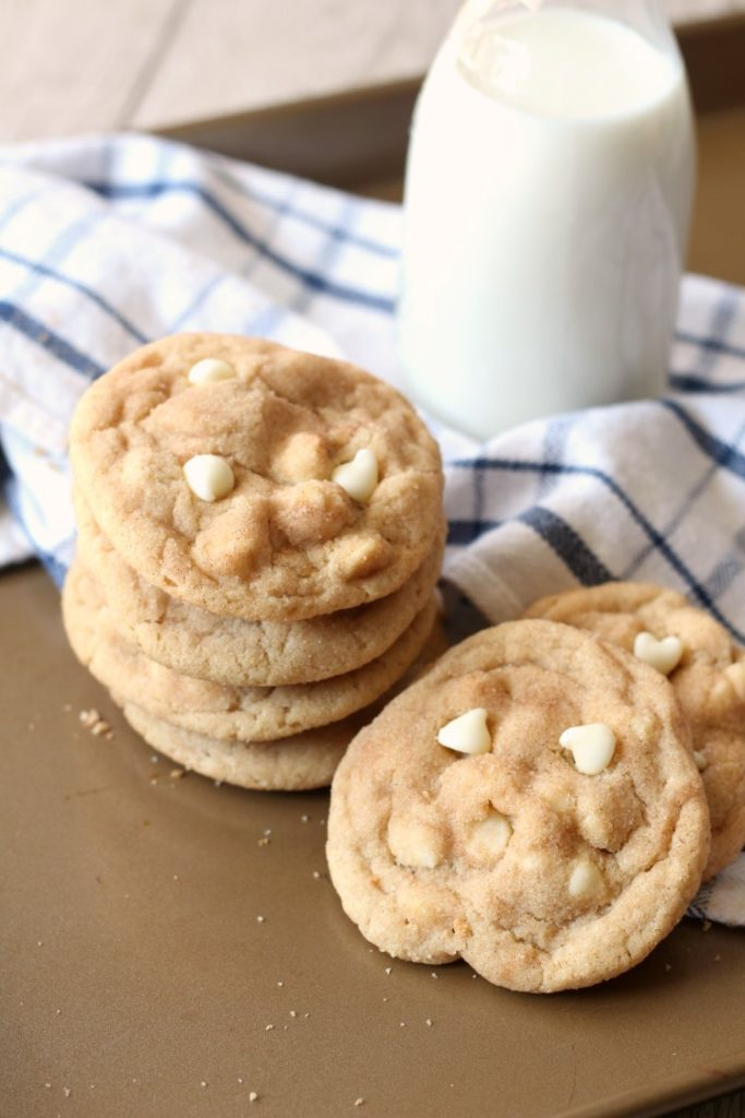 White chocolate snickerdoodle cookies are a perfect easy dessert for kids. The batch disappears before they can cool.