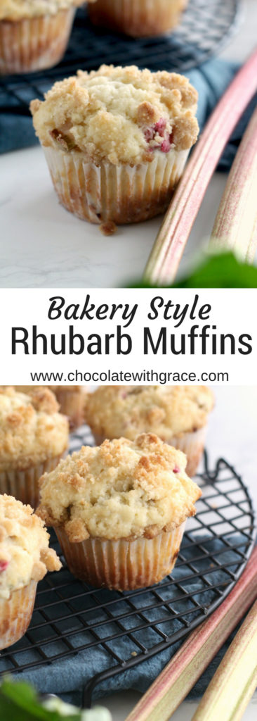 Rhubarb Streusel Muffins. Are puffy tender, just like your bakery favorites. An easy and quick rhubarb muffin recipe. Visit my blog for all the best rhubarb recipes.