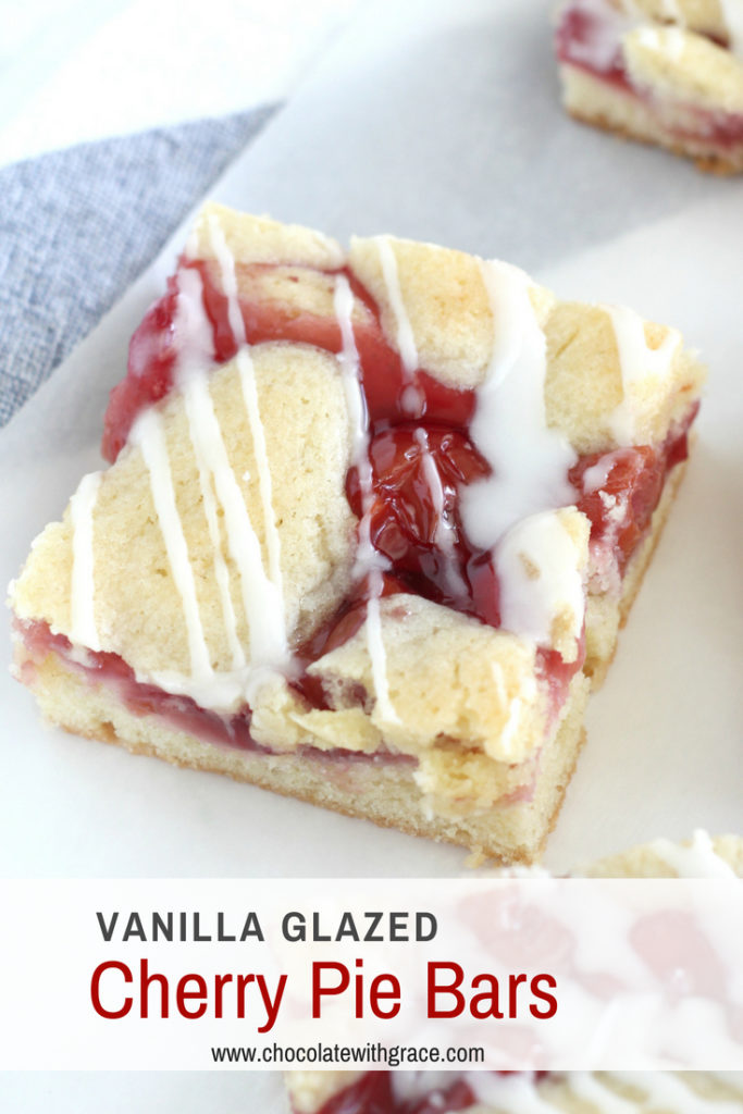 Easy cherry pie bar recipe from scratch. You can either use canned cherry pie filling or make your own with fresh cherries in this easy cherry dessert recipe. It is perfect for the 4th of July or summer picnics and BBQs.