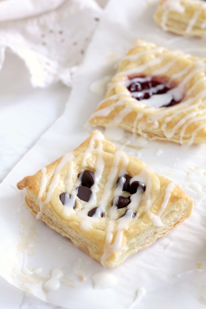 Easy Cream Cheese Puff Pastry Dessert. Try these easy danishes made from puff pastry. Try any flavor you want, chocolate, raspberry, blueberry or any fruit you want. Quick and easy Brunch Dessert.