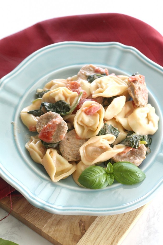 Creamy Italian Sausage and Tortellini. An easy weeknight dinner recipe that comes together fast. It's a lighter Italian dish with lot of great flavor.