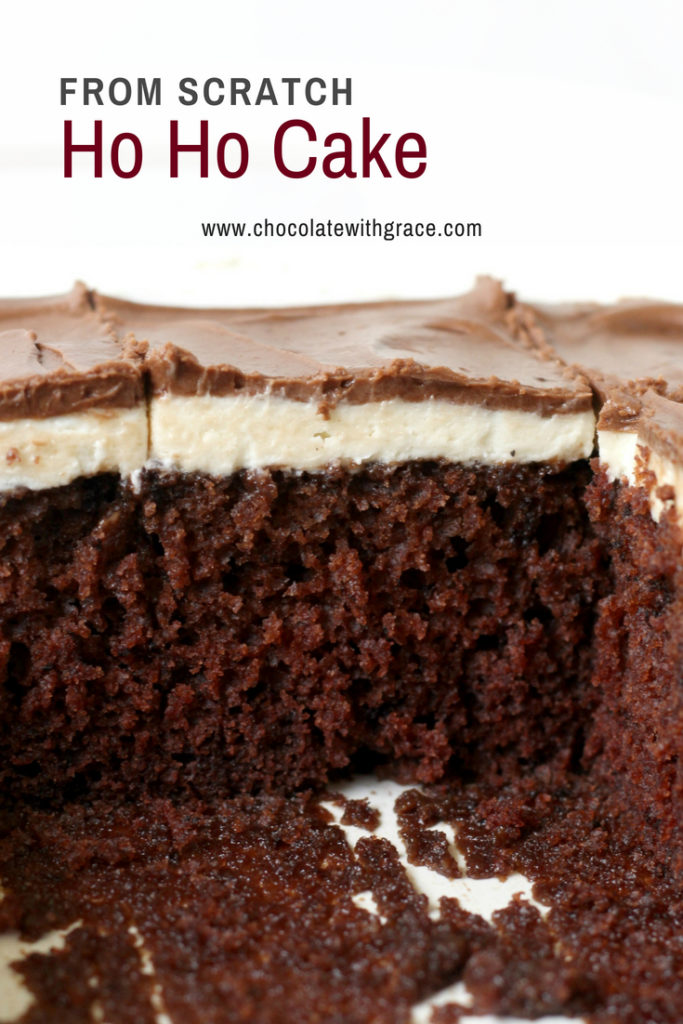 Homemade Ho Ho Cake Recipe from Scratch. Chocolate cake, vanilla filling and smooth chocolate frosting. An easy 9 x 13 cake recipe that feeds a crowd. Just like your favorite hostess treat.