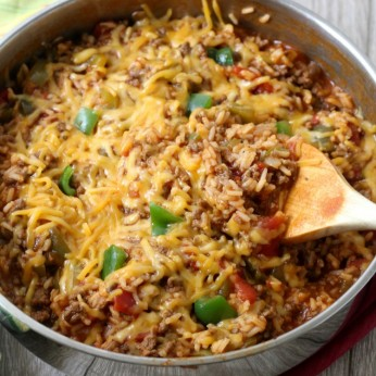 Cheesy One Pot Stuffed Pepper Casserole. An easy weeknight meal made with ground beef and rice.
