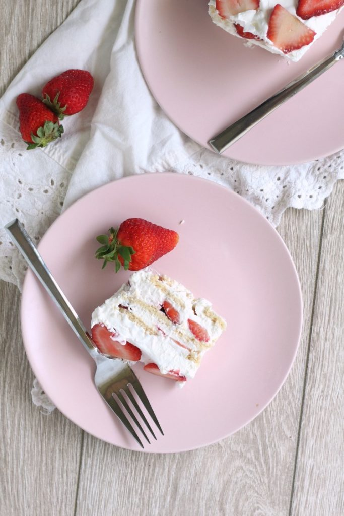 Strawberry Shortcake Icebox Cake. An easy way to make strawberry shortcake easier. It's a perfect strawberry dessert recipe to take to a potluck, picnic or BBQ.