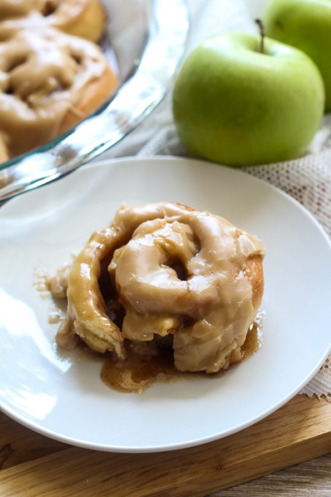 Brown Sugar Frosted Apple Cinnamon Rolls