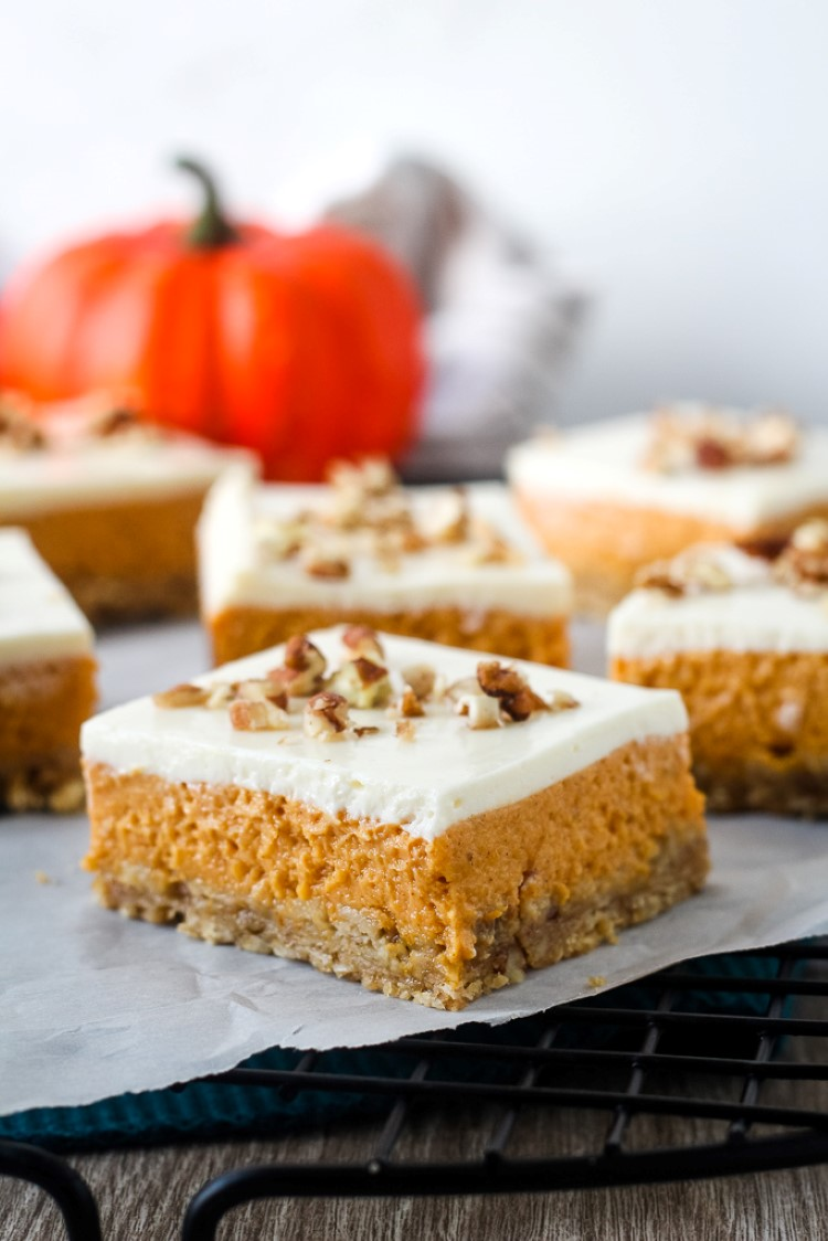 Easy Layered Pumpkin Cheesecake Bars Chocolate With Grace