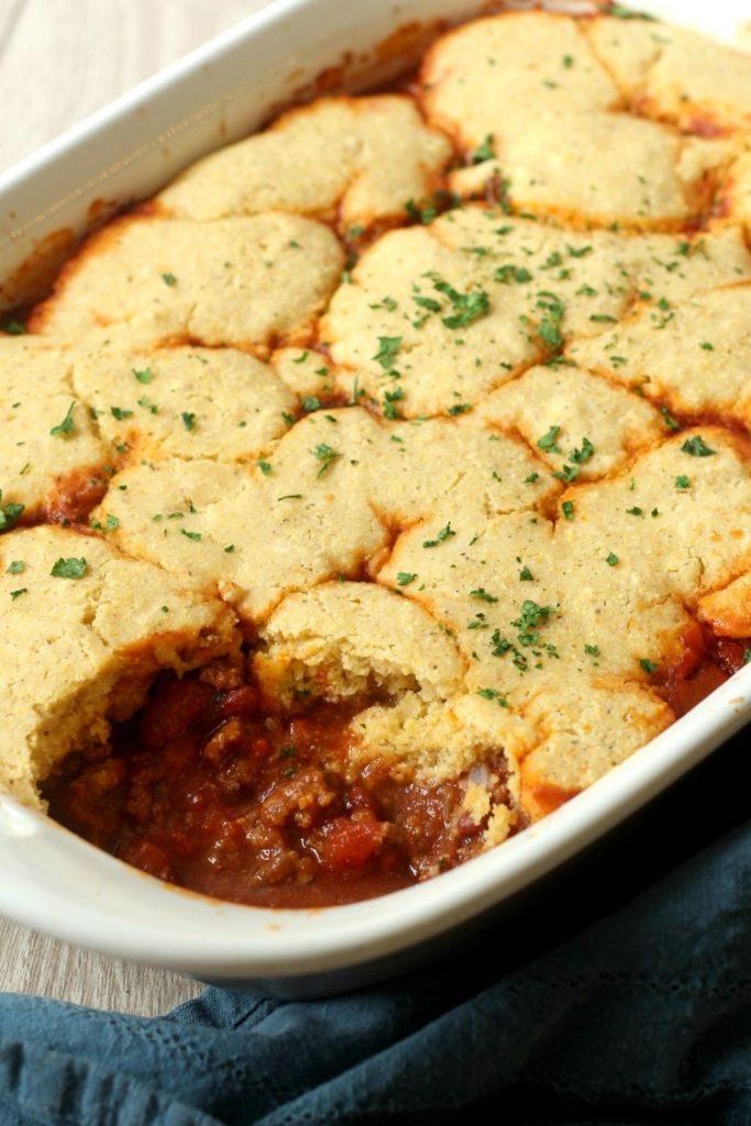 Leftover Chili Cornbread Casserole