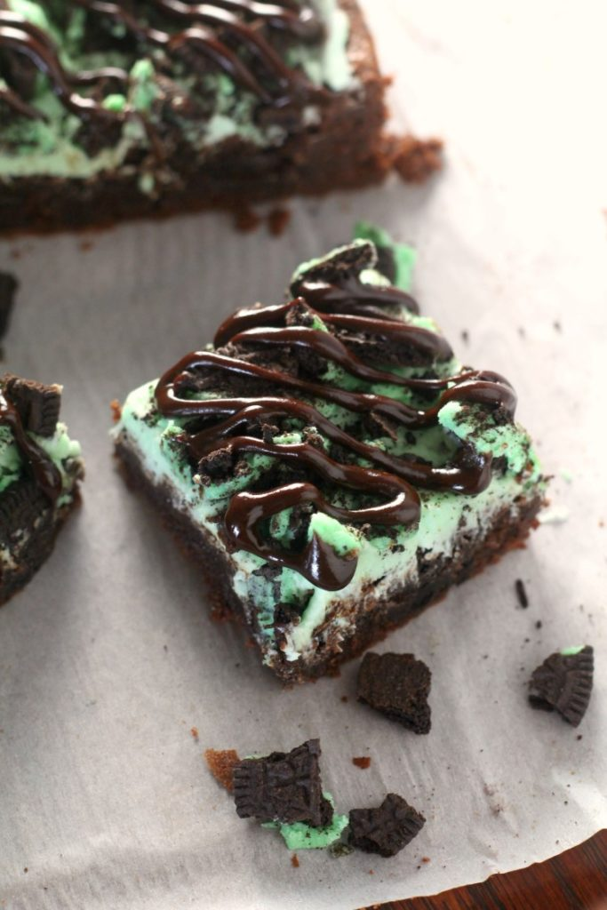 Mint Oreo brownies stuffed with mint oreos