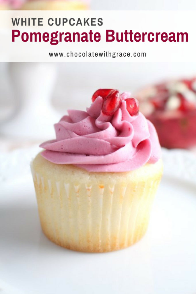 White Cupcakes with Pomegranate buttercream