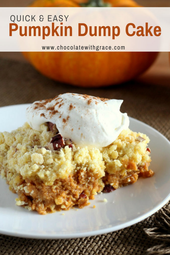 An easy pumpkin dump cake recipe that is quick enough for kids to make and still makes an elegant fall or thanksgiving dessert. Check out my blog for other easy pumpkin dessert recipes and ideas.