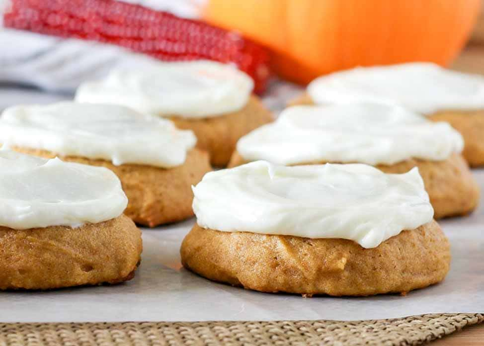 Soft chewy Pumpkin Cookies with Cream Cheese Frosting