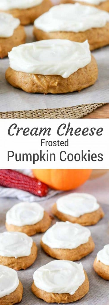 Soft and Chewy Cream Cheese Frosted Pumpkin Cookies