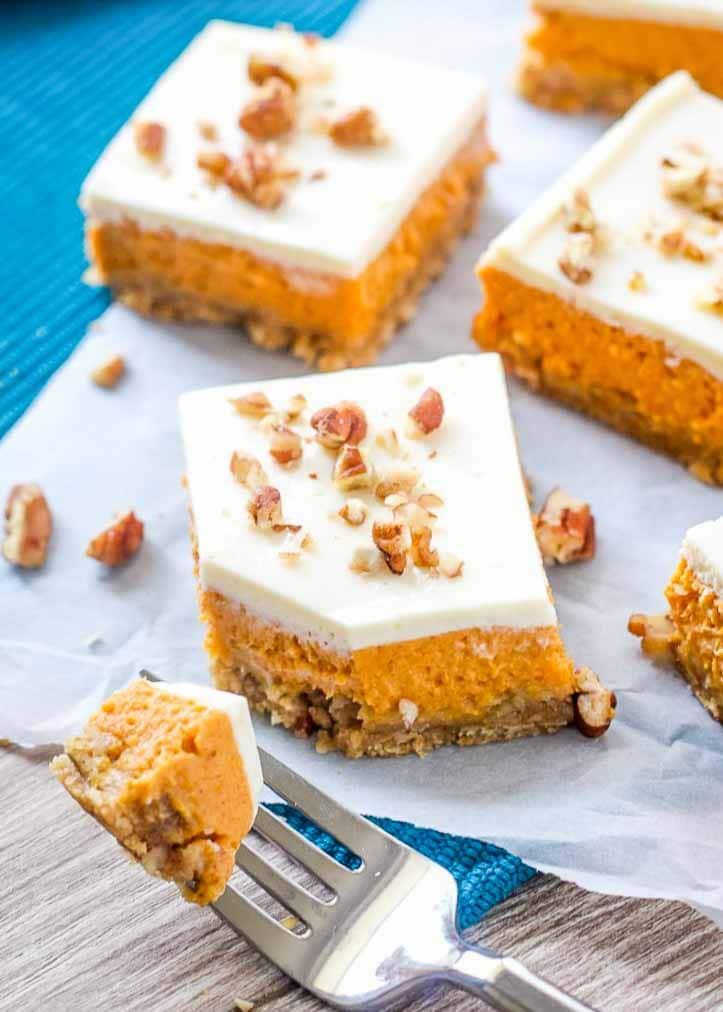 Layered Pumpkin Cheesecake with a crunchy walnut crust!