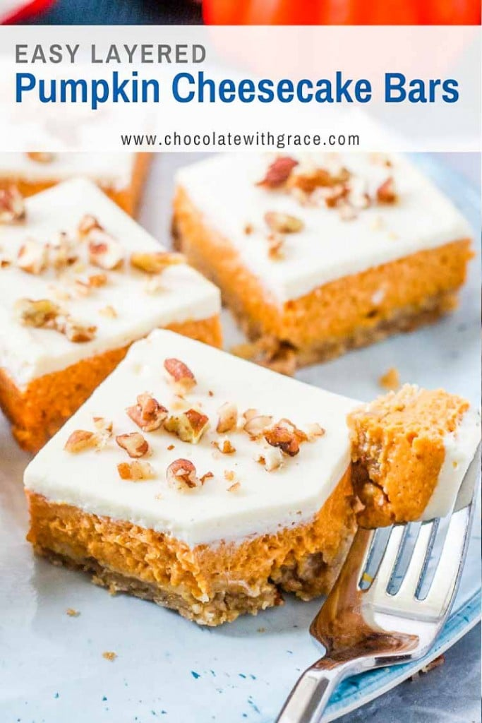 Easy to make and delicious too - Layered Pumpkin Cheesecake Bars