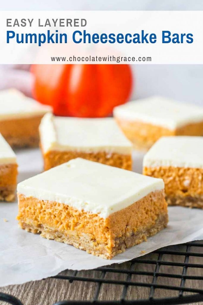 Creamy layered pumpkin cheesecake bars