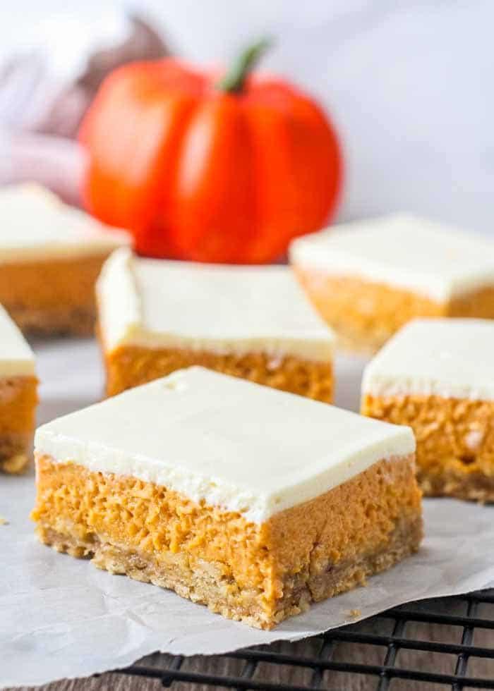 Easy to make Layered Pumpkin Cheesecake Bars