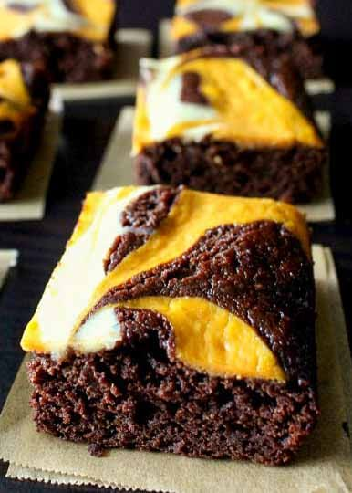 Moist and chewy Pumpkin Cheesecake Brownies