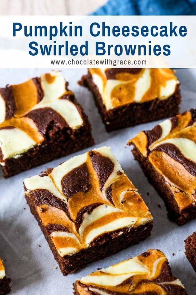 Cheesecake Swirl Pumpkin Brownies