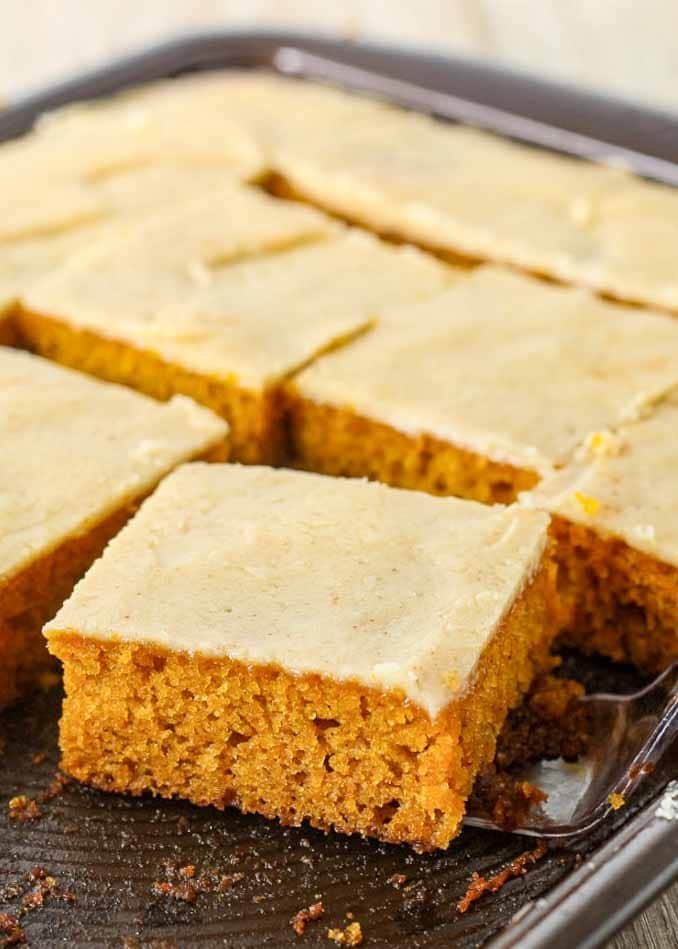 Pumpkin Sheet Cake with Browned Butter Icing